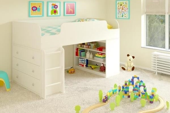 loft beds for kids with dresser and bookcase