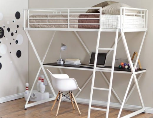 Modern Full Size Metal Loft Beds For Adults With Desk