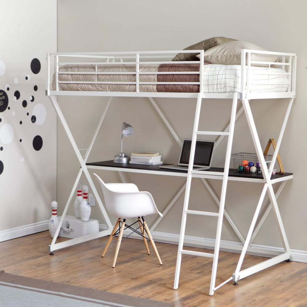Bunk beds for adults with desk - Which White Loft Bed With Desk Is Most Popular In 2016 Loftbeddeals Com