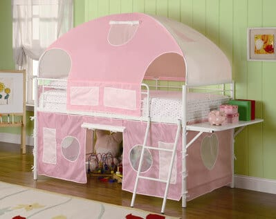pink playhouse loft bed for girls
