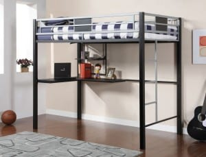 adult full loft bed with workstation