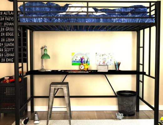 cheap tween loft bed with desk