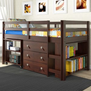 kids low loft bed with dresser and storage