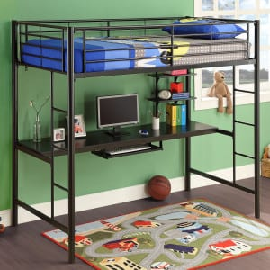 metal twin loft bed kit with full workstation