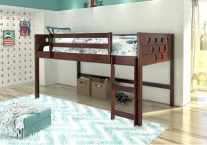 wood low loft bed for kids