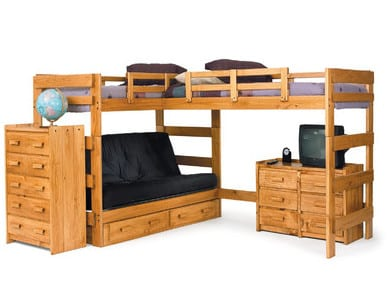 l shaped triple bunk bed with futon