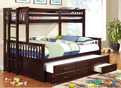 twin over queen triple trundle bed