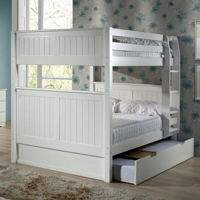 white full over full triple trundle bed