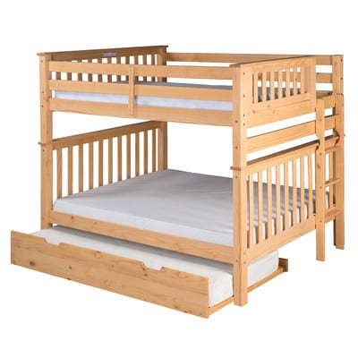 wood full over full trundle bunk bed