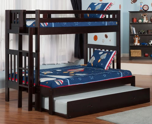 wood twin over twin triple trundle bed