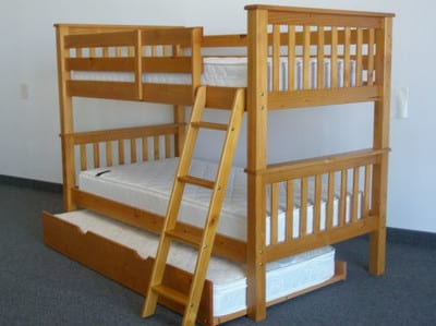 wooden twin over twin triple bed with trundle