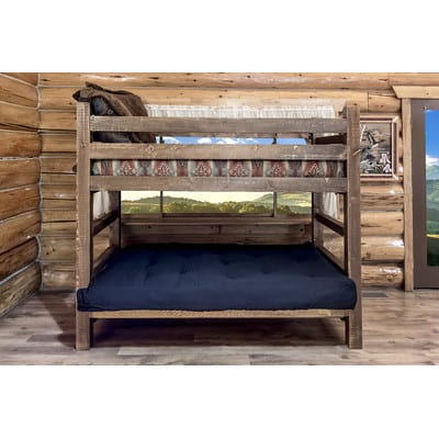 Wood Twin Over Futon Bunk Bed With Mattress Included