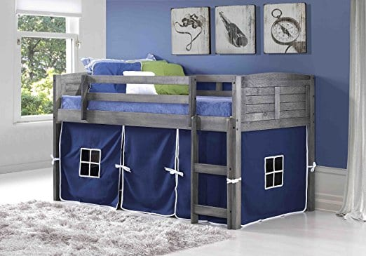 Donco Kids Twin Louvered Low Loft Bed with Blue Tent