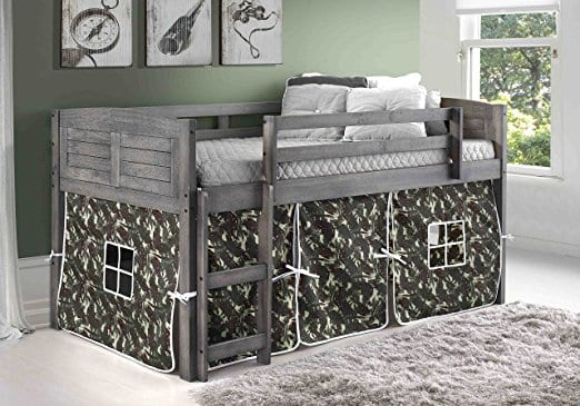 Donco Kids Twin Louvered Low Loft Bed with Camo Tent