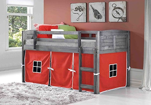 Donco Kids Twin Louvered Low Loft Bed with Red Tent