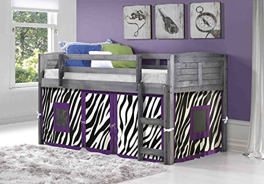 Donco Kids Twin Louvered Low Loft Bed with Zebra Tent