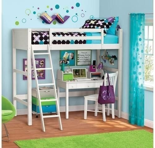 girls white loft bed with desk