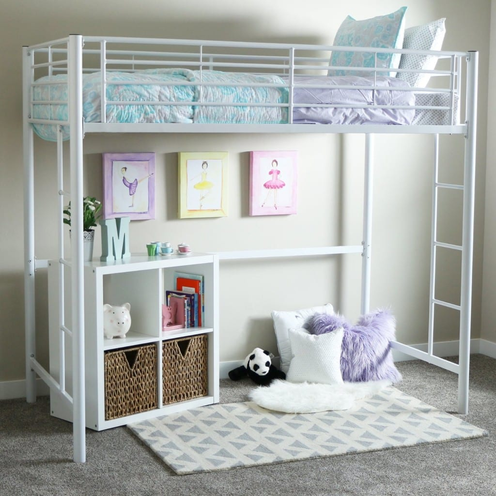 girls white metal loft bed