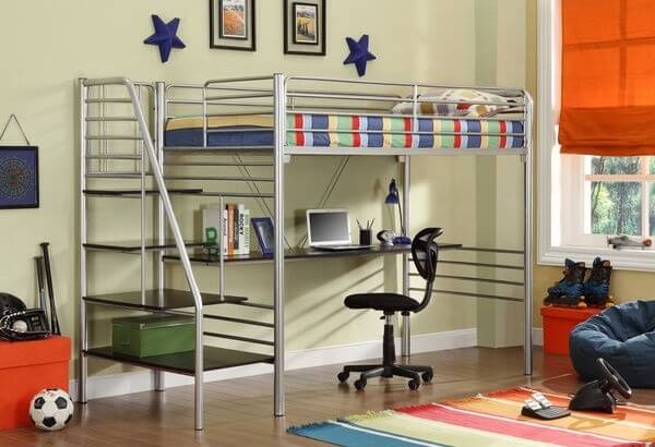 twin kids loft bed with desk and stairs