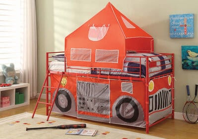 fire station playhouse loft bed for kids