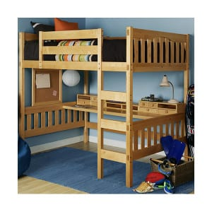 full size wood loft bed kit with desk and storage