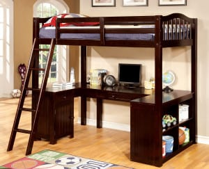solid wood loft bed kit with desk and storage