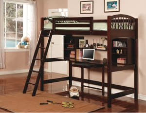 wood loft bed kit with desk and shelves