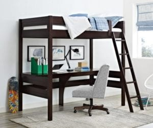 Dorel Living Harlan Loft Bed with Desk, Twin, Espresso