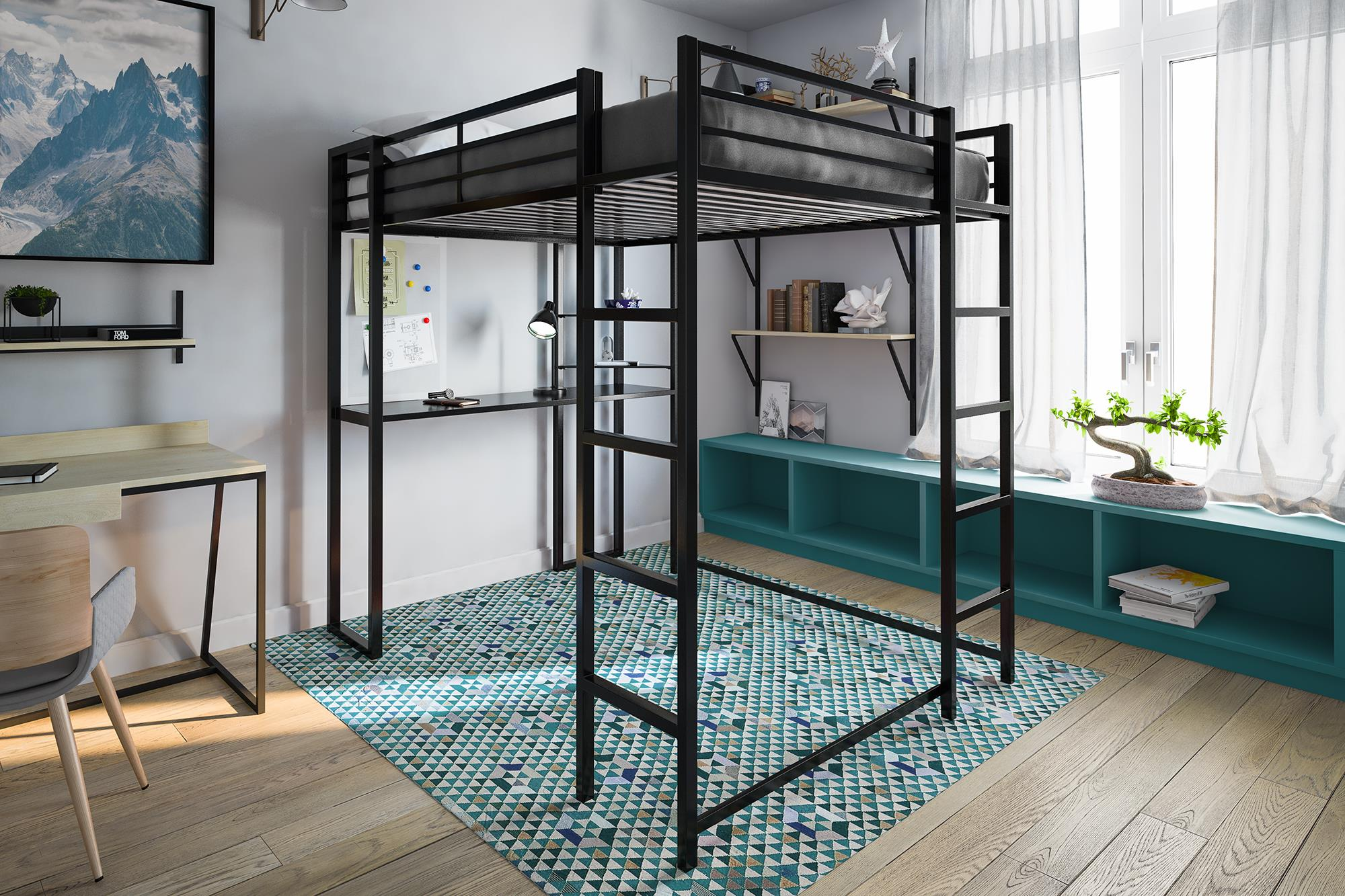 Black Loft Bed Metal Frame