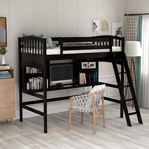 loft bed with shelves and desk