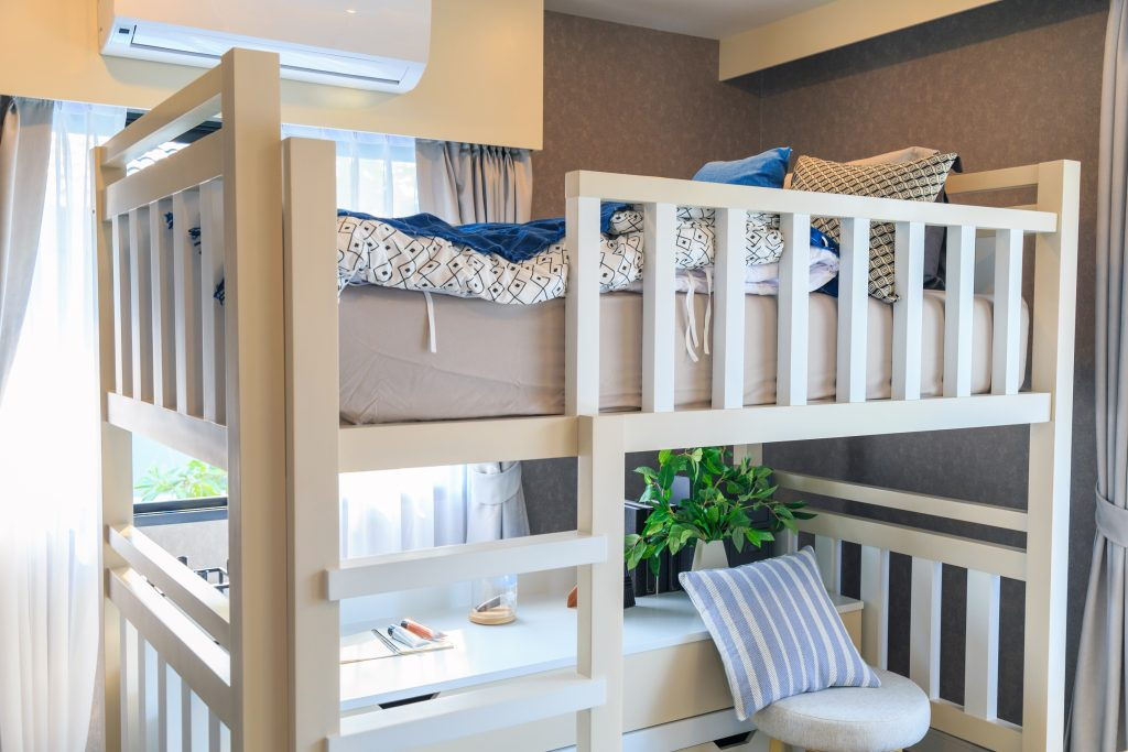 wooden loft bed with desk